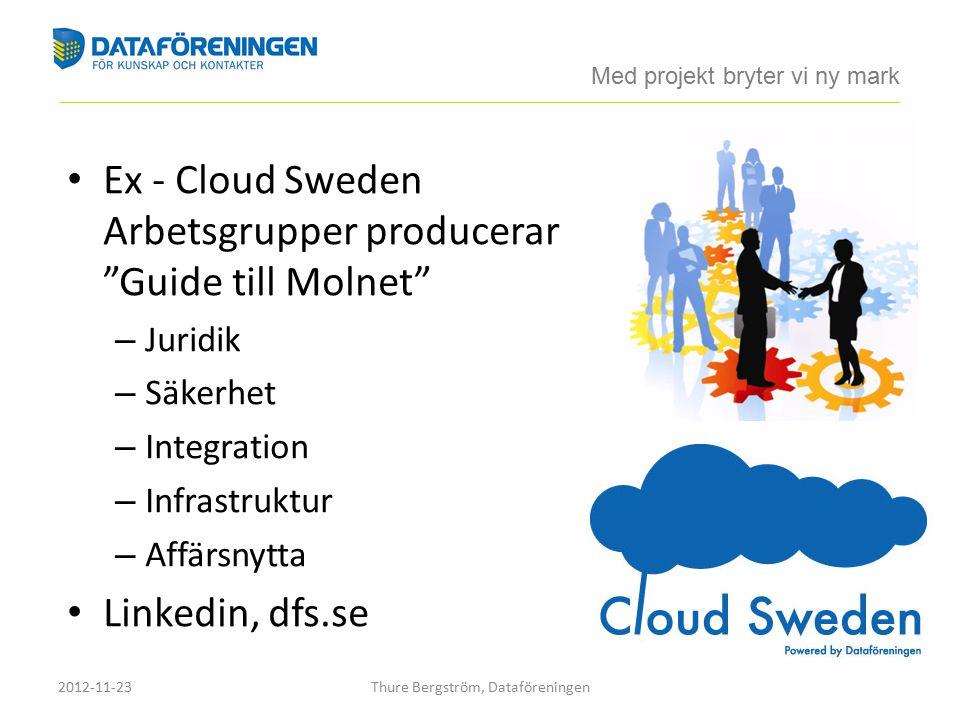 Ex - Cloud Sweden Arbetsgrupper producerar Guide till Molnet – Juridik – Säkerhet – Integration – Infrastruktur – Affärsnytta Linkedin, dfs.se Med projekt bryter vi ny mark ____________________________________________________________________________________________________________________________________________ 2012-11-23Thure Bergström, Dataföreningen