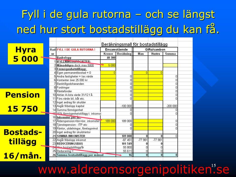 15 Fyll i de gula rutorna – och se längst ned hur stort bostadstillägg du kan få. www.aldreomsorgenipolitiken.se Hyra 5 000 Pension 15 750 Bostads- ti