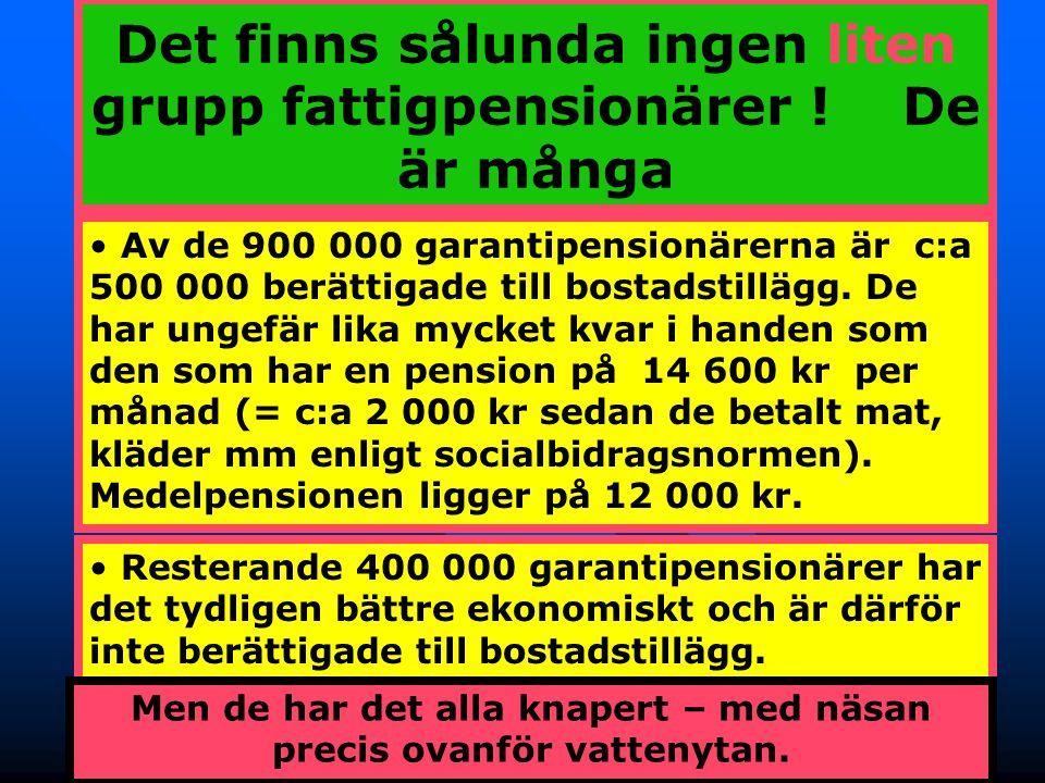 17 Det finns sålunda ingen liten grupp fattigpensionärer ! De är många Av de 900 000 garantipensionärerna är c:a 500 000 berättigade till bostadstillä