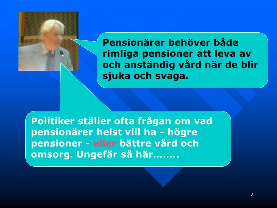 2 Pensionärer behöver både rimliga pensioner att leva av och anständig vård när de blir sjuka och svaga. Politiker ställer ofta frågan om vad pensionä