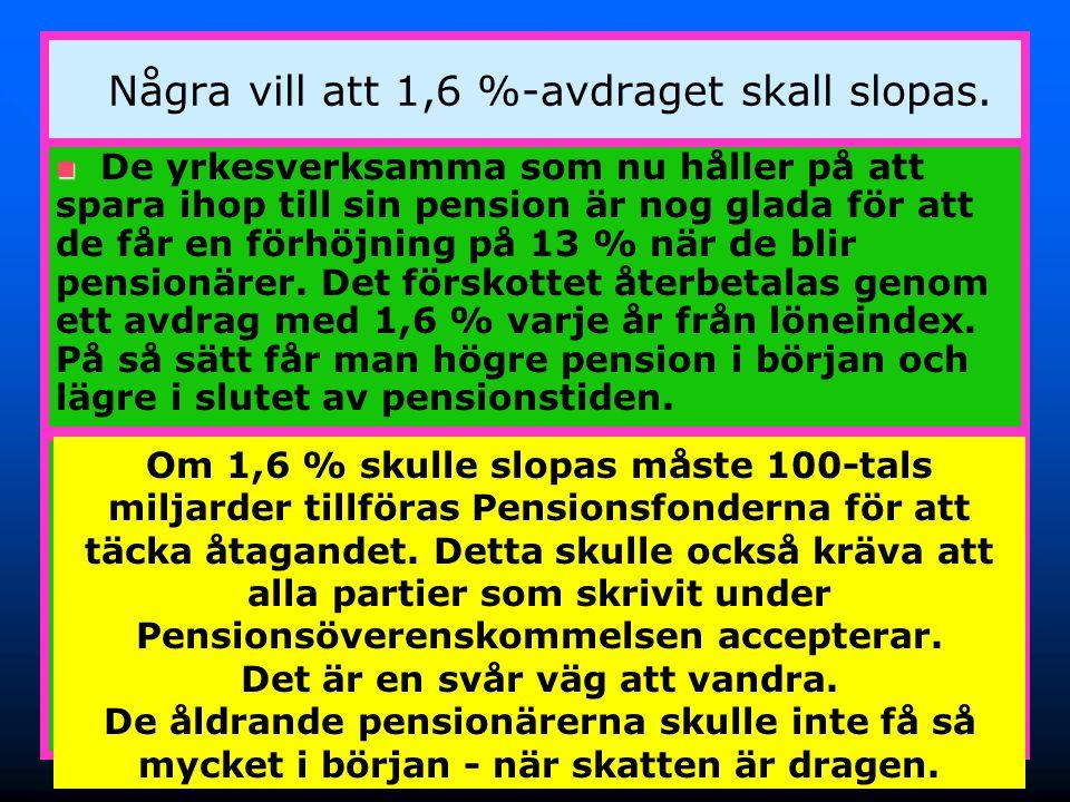 29 Några vill att 1,6 %-avdraget skall slopas.  ATP-pensionärerna blev överkompenserade – det var ju därför ATP-systemet inte höll. Nu fick de behåll