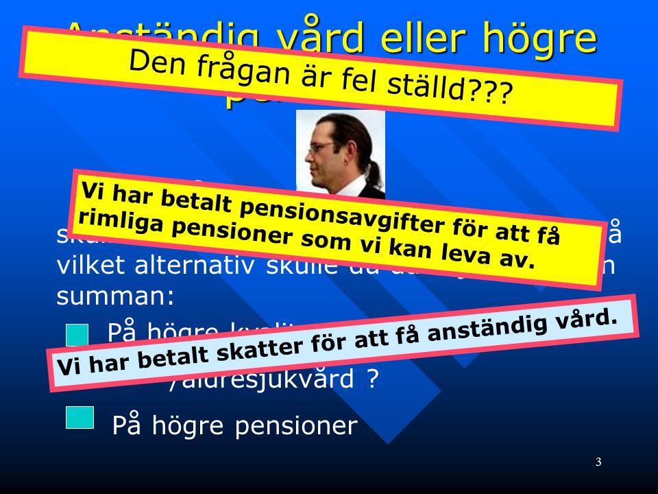 3 Anständig vård eller högre pensioner. skulle sätta av 25 miljarder till de äldre på vilket alternativ skulle du då vilja satsa den summan: På högre