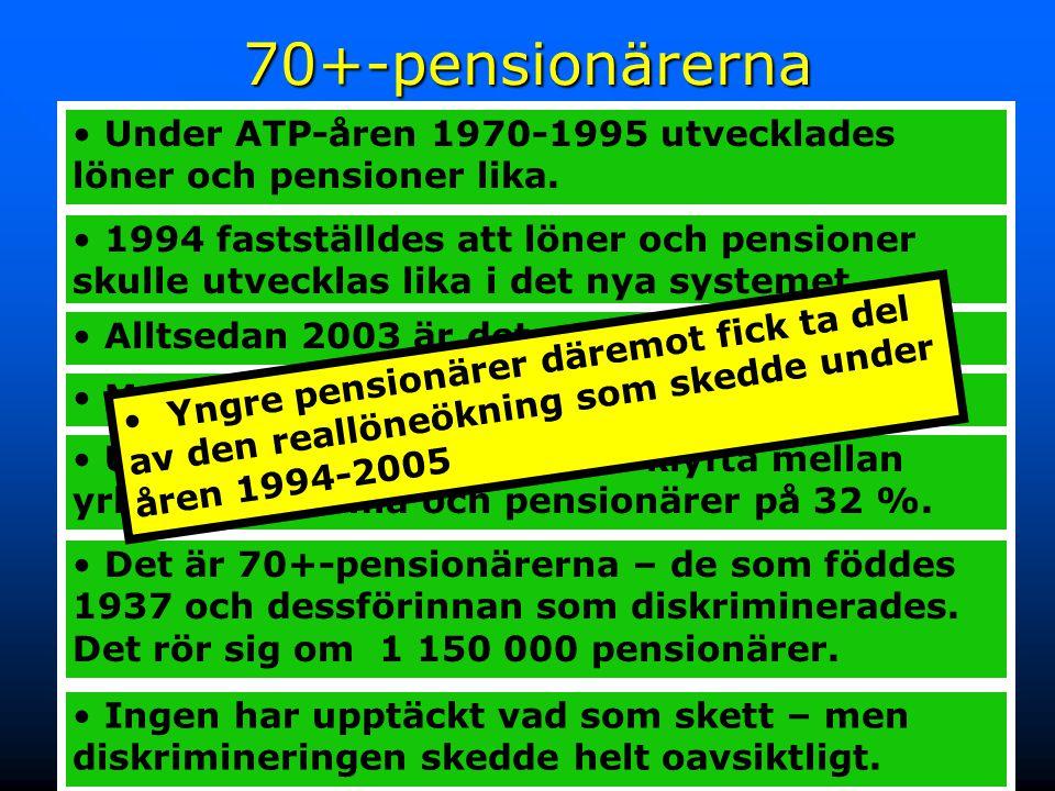 30 Reallöneutvecklingen 1970-2005 70+-pensionärerna diskriminerade – oavsiktligt 1994 fastställdes att löner och pensioner skulle utvecklas lika i det