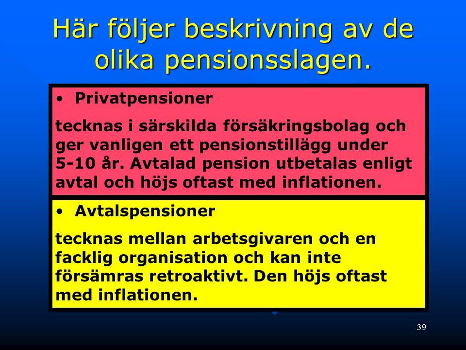 39 Privatpensioner tecknas i särskilda försäkringsbolag och ger vanligen ett pensionstillägg under 5-10 år. Avtalad pension utbetalas enligt avtal och