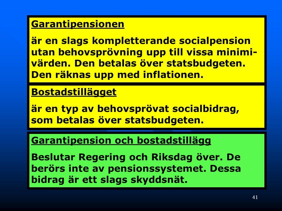 41 Garantipensionen är en slags kompletterande socialpension utan behovsprövning upp till vissa minimi- värden. Den betalas över statsbudgeten. Den rä