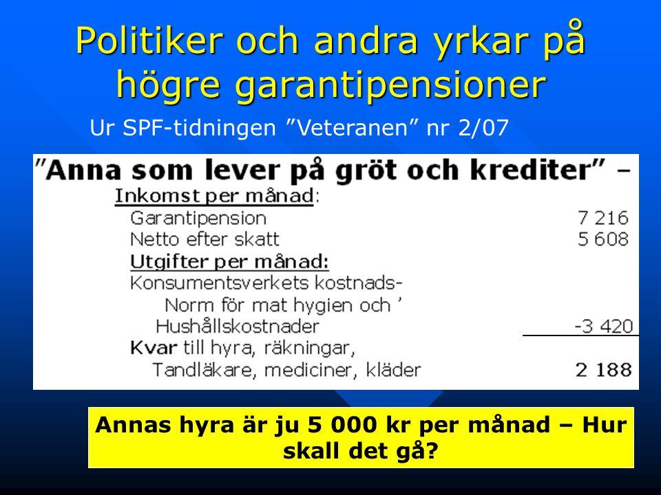 """9 Ur SPF-tidningen """"Veteranen"""" nr 2/07 Annas hyra är ju 5 000 kr per månad – Hur skall det gå? Politiker och andra yrkar på högre garantipensioner"""