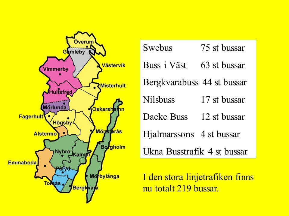 I den stora linjetrafiken finns nu totalt 219 bussar. Swebus 75 st bussar Buss i Väst 63 st bussar Bergkvarabuss 44 st bussar Nilsbuss 17 st bussar Da