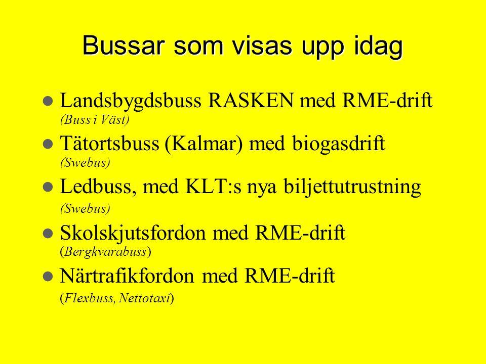 Bussar som visas upp idag Landsbygdsbuss RASKEN med RME-drift (Buss i Väst) Tätortsbuss (Kalmar) med biogasdrift (Swebus) Ledbuss, med KLT:s nya bilje