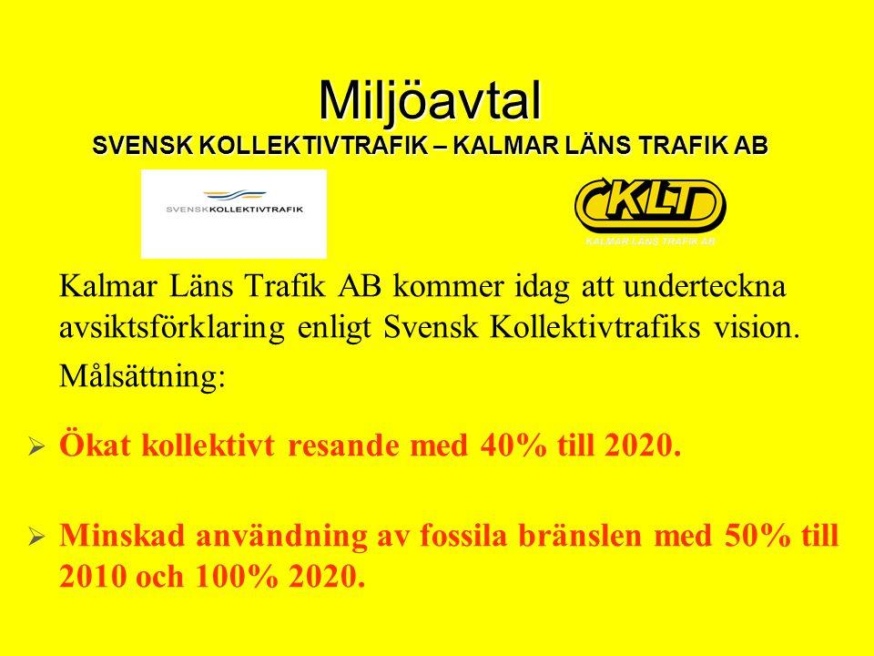Miljöavtal SVENSK KOLLEKTIVTRAFIK – KALMAR LÄNS TRAFIK AB Kalmar Läns Trafik AB kommer idag att underteckna avsiktsförklaring enligt Svensk Kollektivt