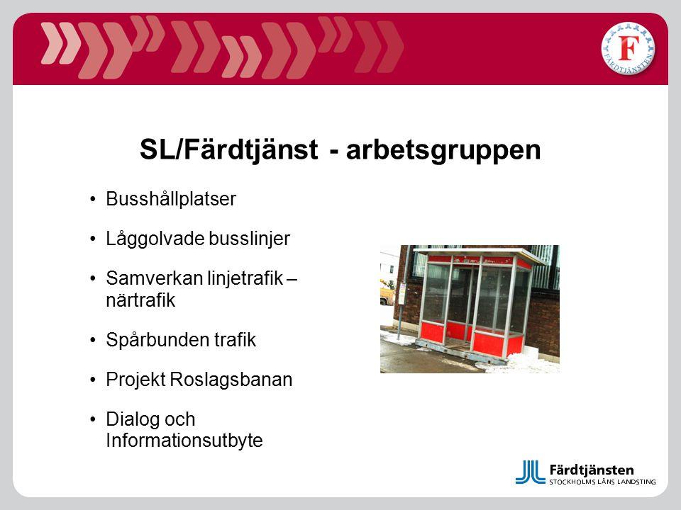 SL/Färdtjänst - arbetsgruppen Busshållplatser Låggolvade busslinjer Samverkan linjetrafik – närtrafik Spårbunden trafik Projekt Roslagsbanan Dialog oc
