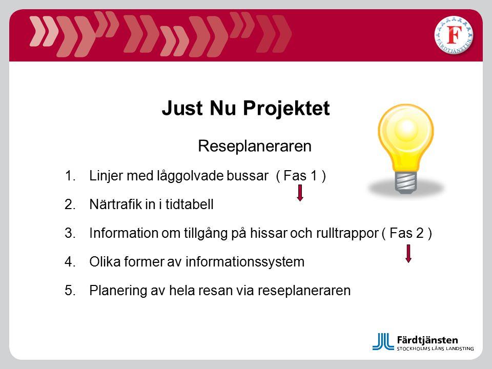 Just Nu Projektet Reseplaneraren 1.Linjer med låggolvade bussar ( Fas 1 ) 2.Närtrafik in i tidtabell 3.Information om tillgång på hissar och rulltrapp