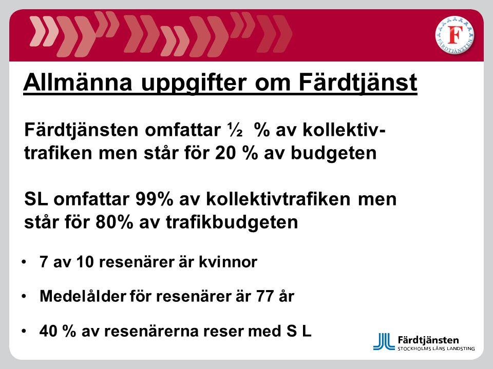 Allmänna uppgifter om Färdtjänst 7 av 10 resenärer är kvinnor Medelålder för resenärer är 77 år 40 % av resenärerna reser med S L Färdtjänsten omfatta