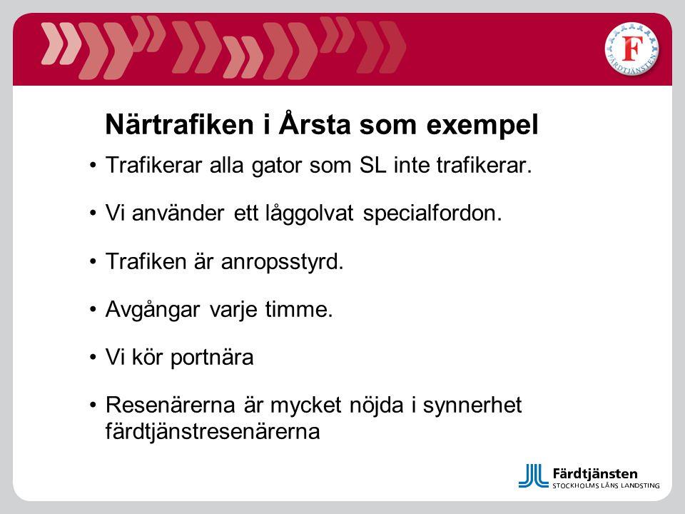 Närtrafiken i Årsta som exempel Trafikerar alla gator som SL inte trafikerar. Vi använder ett låggolvat specialfordon. Trafiken är anropsstyrd. Avgång