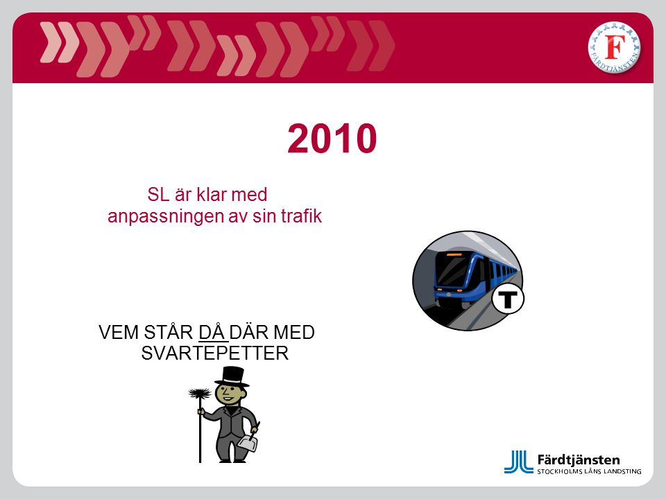 2010 SL är klar med anpassningen av sin trafik VEM STÅR DÅ DÄR MED SVARTEPETTER