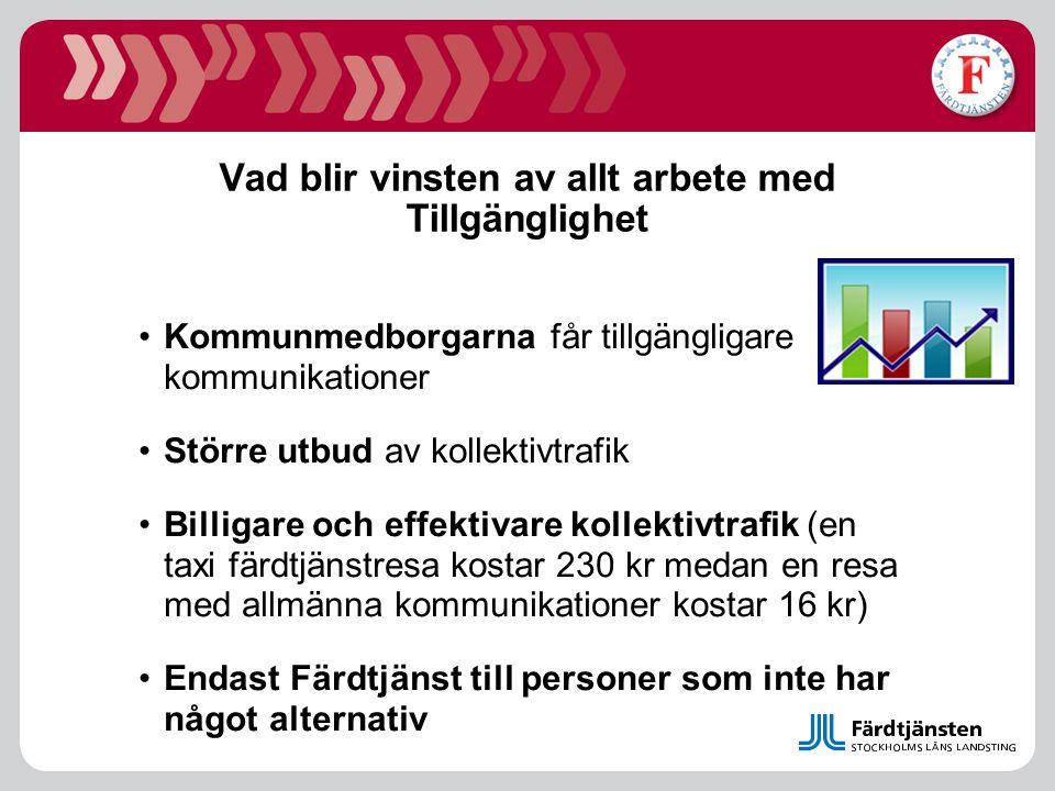 Vad blir vinsten av allt arbete med Tillgänglighet Kommunmedborgarna får tillgängligare kommunikationer Större utbud av kollektivtrafik Billigare och
