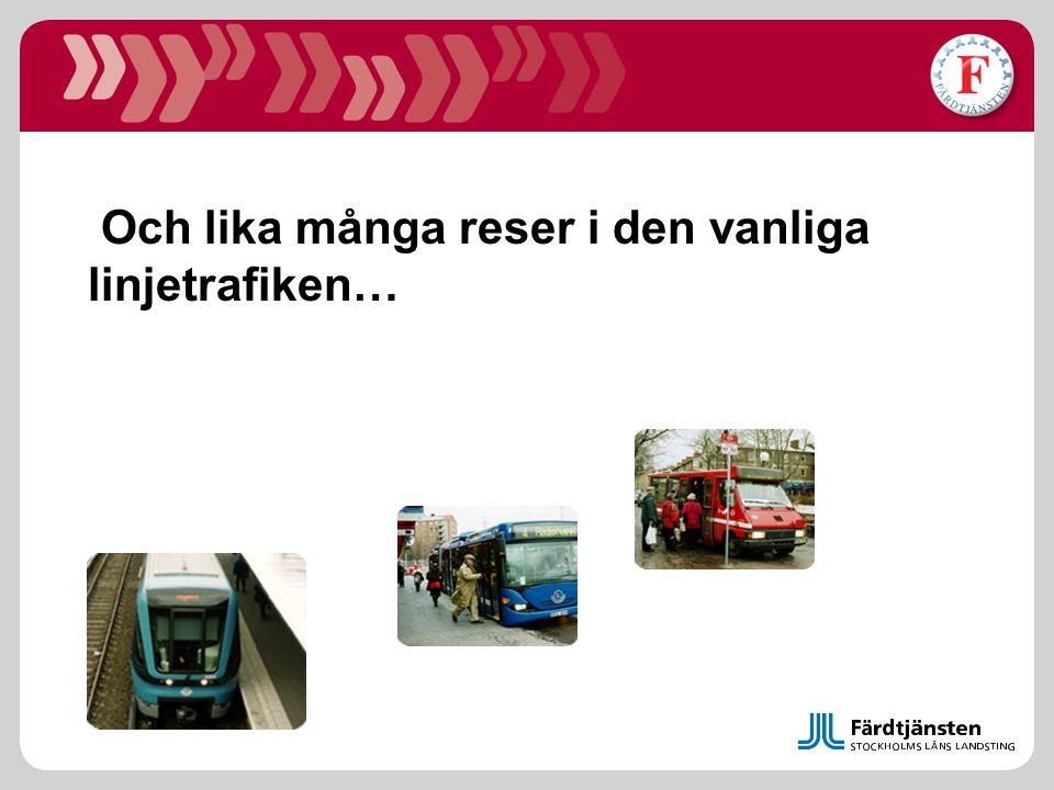 Gemensamt resekort Från Färdtjänstkort Till Gemensamt resekort Närmande allmän kollektivtrafik Lätt att få statistik på antal färdtjänst berättigade i allmän kollektivtrafik Snabbare resande