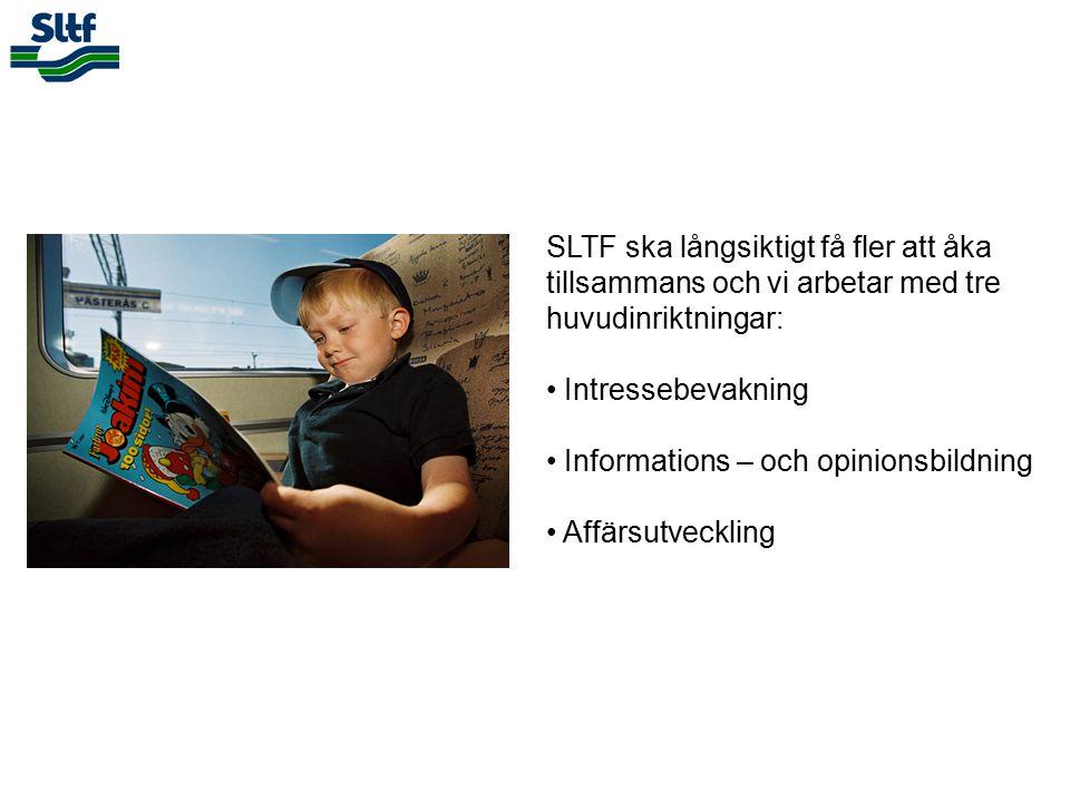 SLTF ska långsiktigt få fler att åka tillsammans och vi arbetar med tre huvudinriktningar: Intressebevakning Informations – och opinionsbildning Affärsutveckling