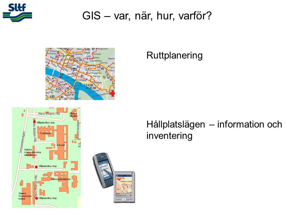 GIS – var, när, hur, varför? Ruttplanering Hållplatslägen – information och inventering