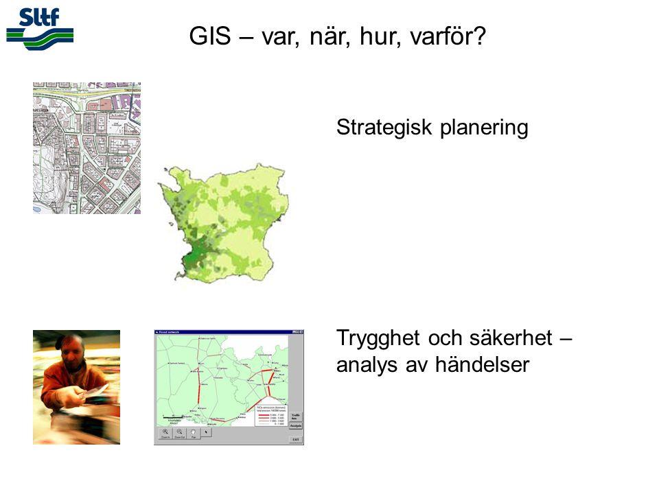 GIS – var, när, hur, varför? Strategisk planering Trygghet och säkerhet – analys av händelser