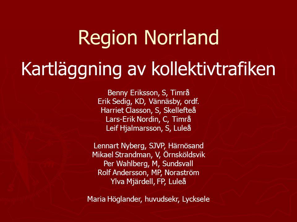 Region Norrland Kartläggning av kollektivtrafiken Benny Eriksson, S, Timrå Erik Sedig, KD, Vännäsby, ordf. Harriet Classon, S, Skellefteå Lars-Erik No