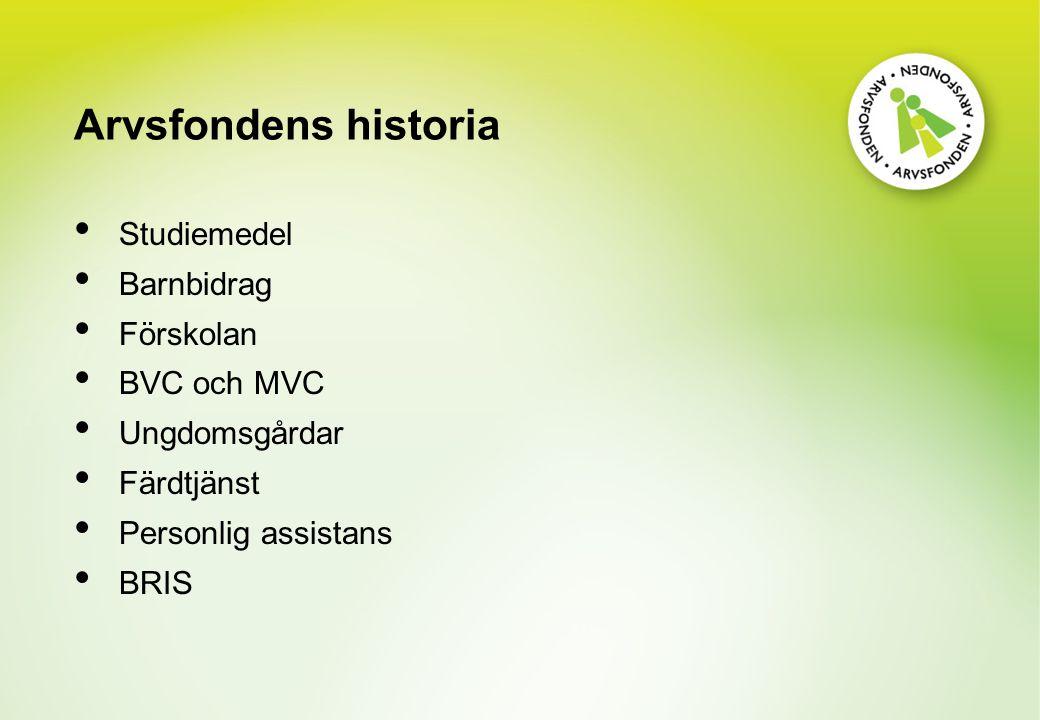 Arvsfondens historia Studiemedel Barnbidrag Förskolan BVC och MVC Ungdomsgårdar Färdtjänst Personlig assistans BRIS