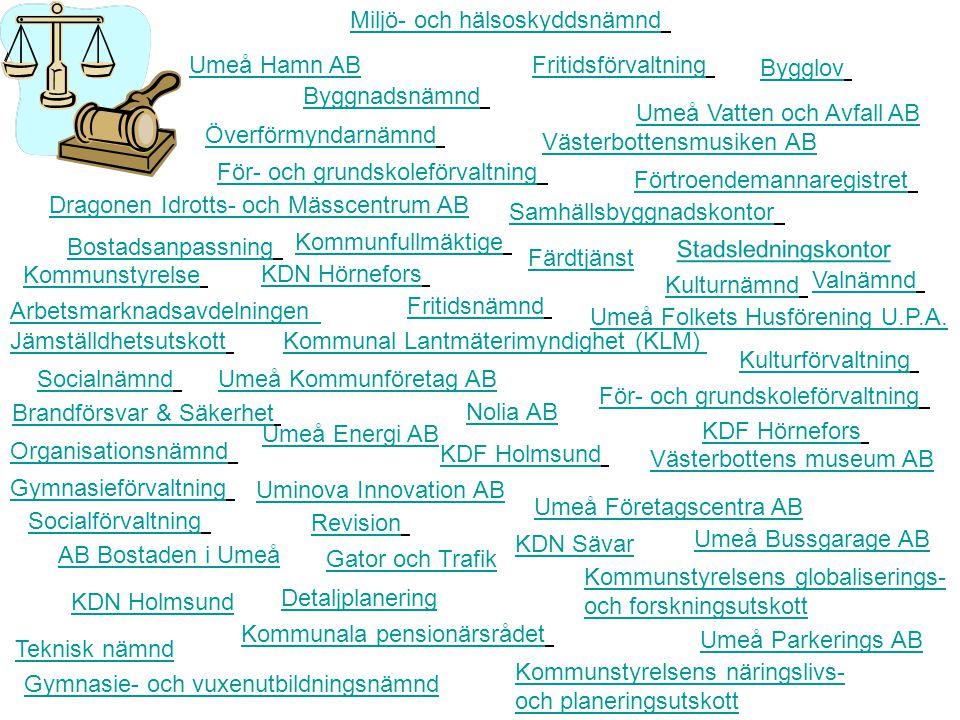 KDN Sävar Umeå Parkerings AB KDF Hörnefors Umeå Energi AB Socialförvaltning KDN Holmsund Organisationsnämnd Nolia AB Uminova Innovation AB KDF Holmsund Brandförsvar & Säkerhet För- och grundskoleförvaltning Gymnasieförvaltning För- och grundskoleförvaltning Stadsledningskontor Umeå Hamn AB Kommunstyrelsens globaliserings- och forskningsutskott Kommunala pensionärsrådet Socialnämnd Gymnasie- och vuxenutbildningsnämnd Detaljplanering Gator och Trafik Kommunstyrelse Teknisk nämnd Valnämnd Kommunfullmäktige Överförmyndarnämnd Färdtjänst Kommunal Lantmäterimyndighet (KLM)Jämställdhetsutskott Arbetsmarknadsavdelningen Förtroendemannaregistret Samhällsbyggnadskontor Bostadsanpassning KDN Hörnefors Västerbottens museum AB Västerbottensmusiken AB Umeå Kommunföretag AB Dragonen Idrotts- och Mässcentrum AB Umeå Vatten och Avfall AB Fritidsnämnd AB Bostaden i Umeå Kommunstyrelsens näringslivs- och planeringsutskott Umeå Bussgarage AB Kulturförvaltning Umeå Företagscentra AB Bygglov Umeå Folkets Husförening U.P.A.