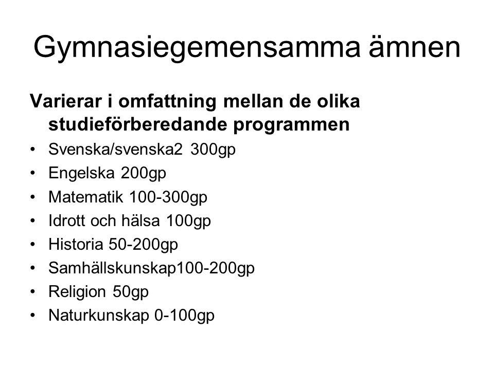 Gymnasiegemensamma ämnen Varierar i omfattning mellan de olika studieförberedande programmen Svenska/svenska2 300gp Engelska 200gp Matematik 100-300gp