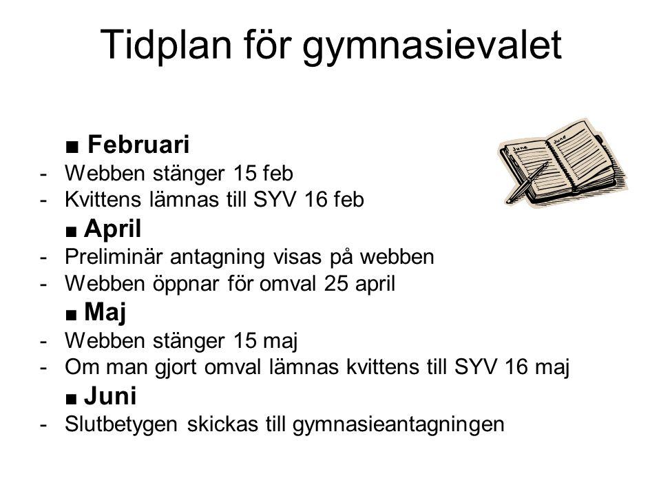 Tidplan för gymnasievalet ■ Februari -Webben stänger 15 feb -Kvittens lämnas till SYV 16 feb ■ April -Preliminär antagning visas på webben -Webben öpp