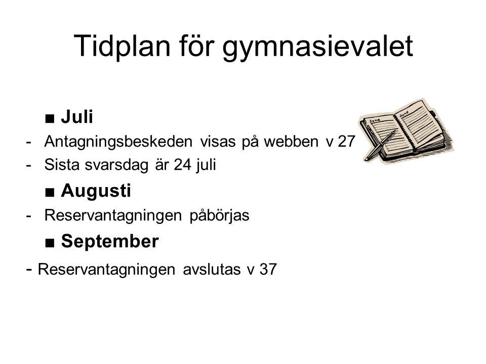Tidplan för gymnasievalet ■ Juli -Antagningsbeskeden visas på webben v 27 -Sista svarsdag är 24 juli ■ Augusti -Reservantagningen påbörjas ■ September
