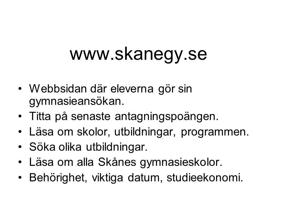 www.skanegy.se Webbsidan där eleverna gör sin gymnasieansökan. Titta på senaste antagningspoängen. Läsa om skolor, utbildningar, programmen. Söka olik