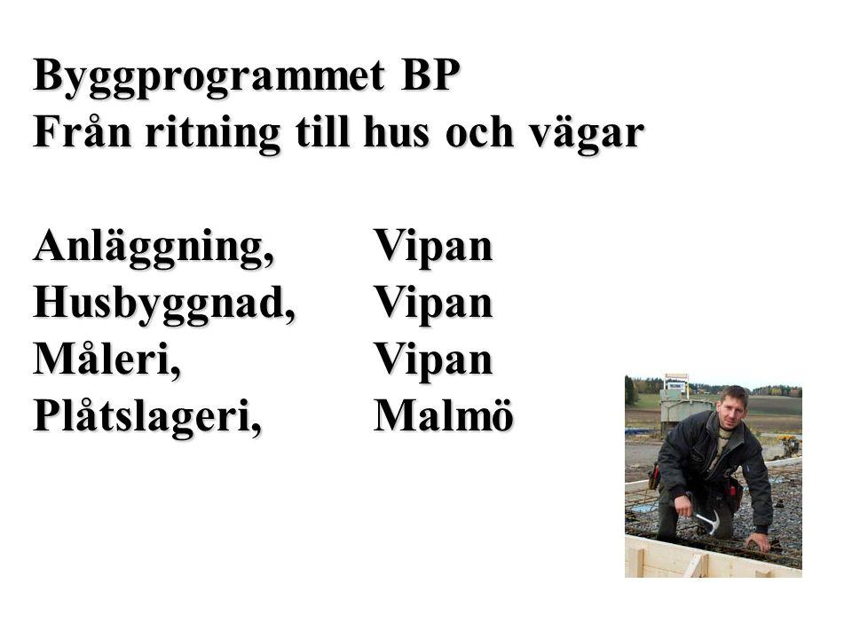 Byggprogrammet BP Från ritning till hus och vägar Anläggning,Vipan Husbyggnad,Vipan Måleri,Vipan Plåtslageri,Malmö