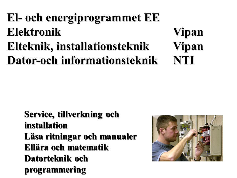 El- och energiprogrammet EE Elektronik Vipan Elteknik, installationsteknik Vipan Dator-och informationsteknik NTI Service, tillverkning och installati