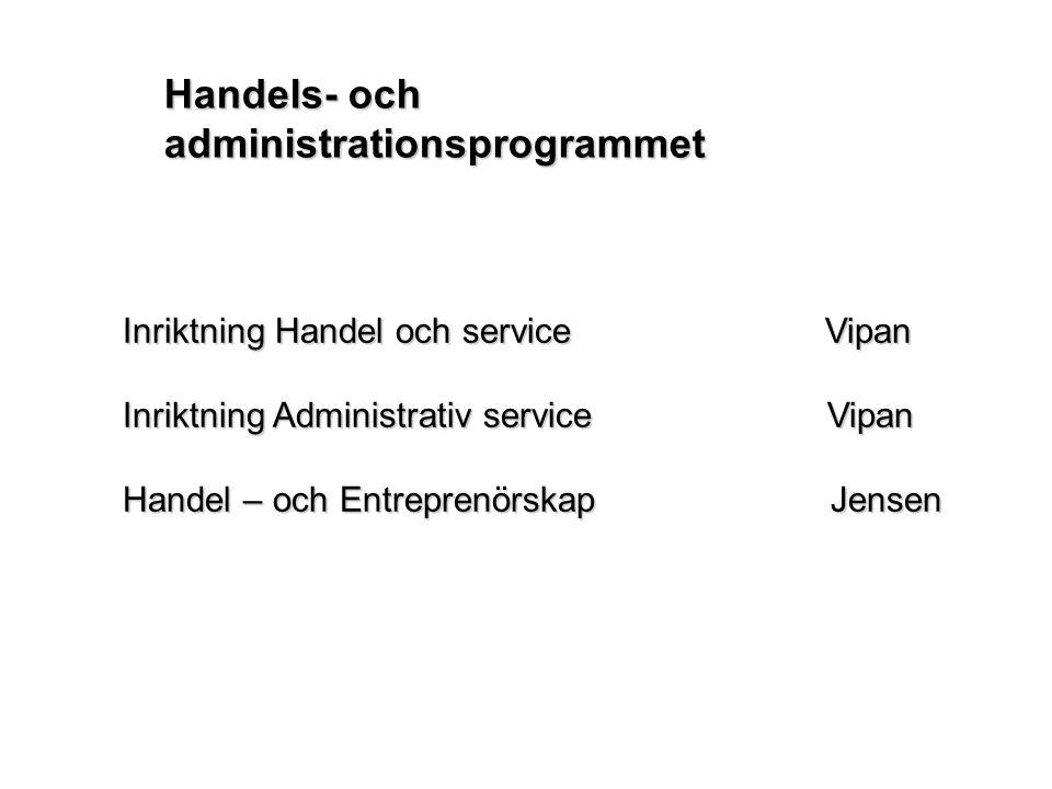 Inriktning Handel och service Vipan Inriktning Administrativ service Vipan Handel – och Entreprenörskap Jensen Handels- och administrationsprogrammet