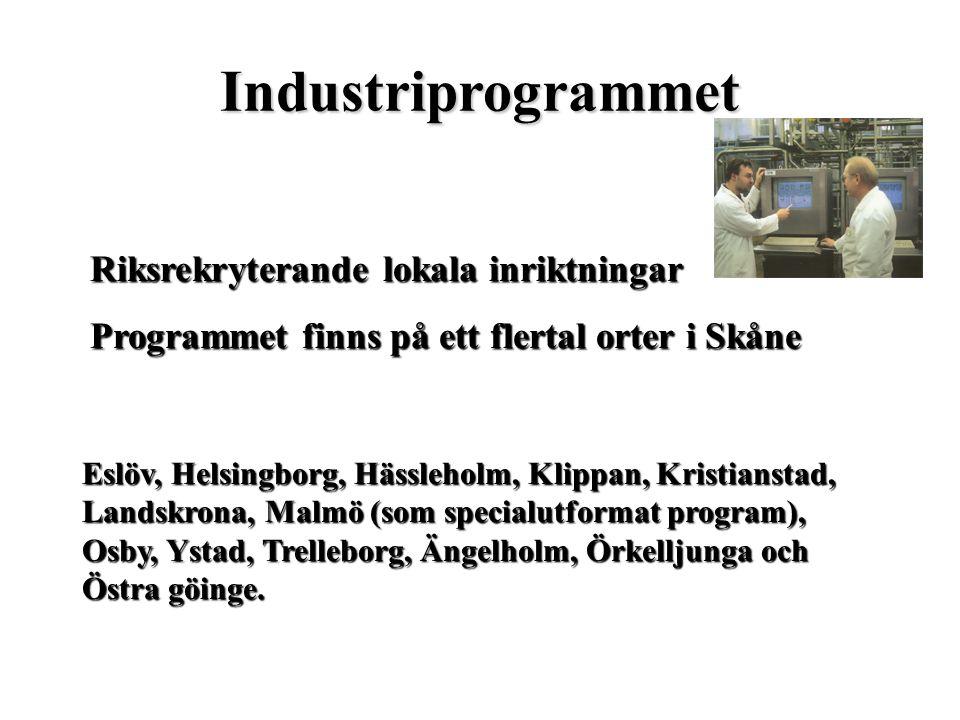 Industriprogrammet Riksrekryterande lokala inriktningar Programmet finns på ett flertal orter i Skåne Eslöv, Helsingborg, Hässleholm, Klippan, Kristia