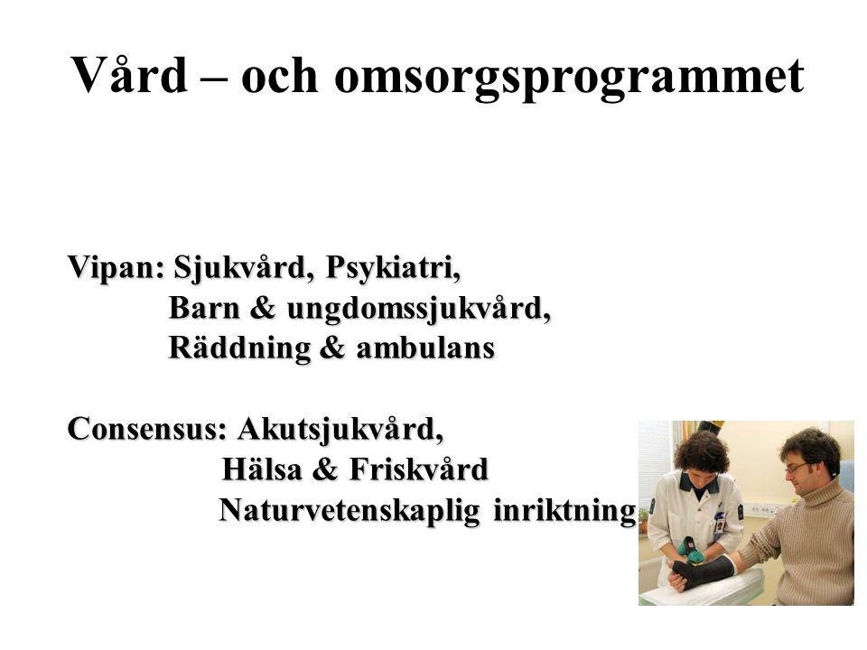 Vård – och omsorgsprogrammet Vipan: Sjukvård, Psykiatri, Barn & ungdomssjukvård, Barn & ungdomssjukvård, Räddning & ambulans Räddning & ambulans Conse