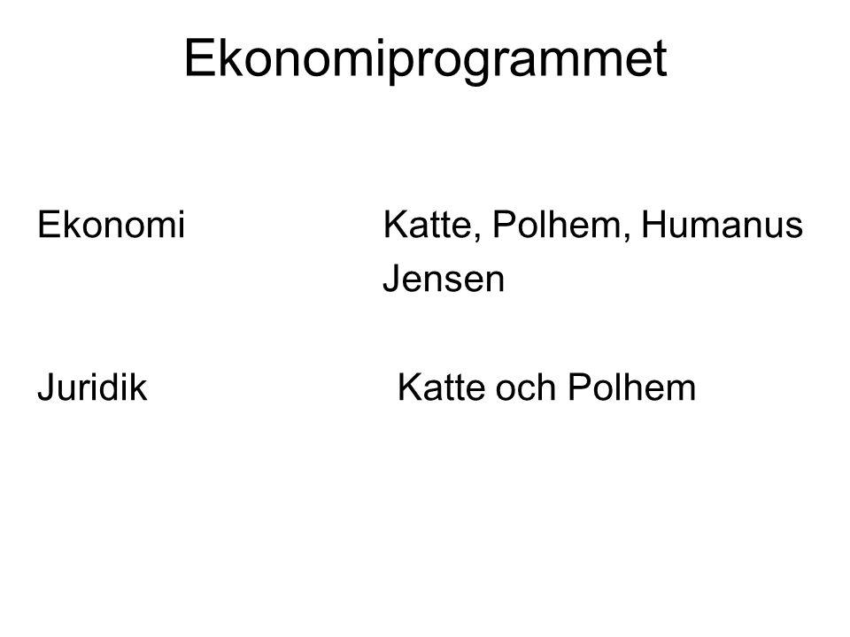 Ekonomiprogrammet Ekonomi Katte, Polhem, Humanus Jensen Juridik Katte och Polhem