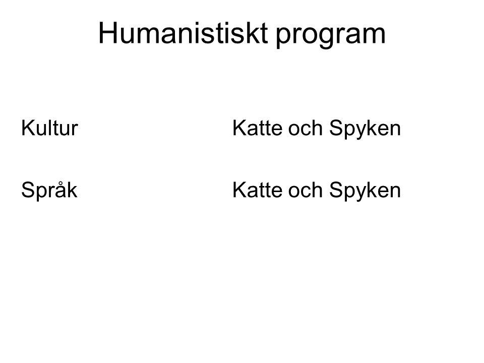 Humanistiskt program Kultur Katte och Spyken Språk Katte och Spyken