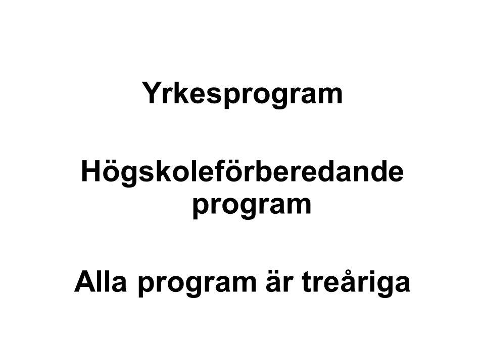 Yrkesprogram Högskoleförberedande program Alla program är treåriga