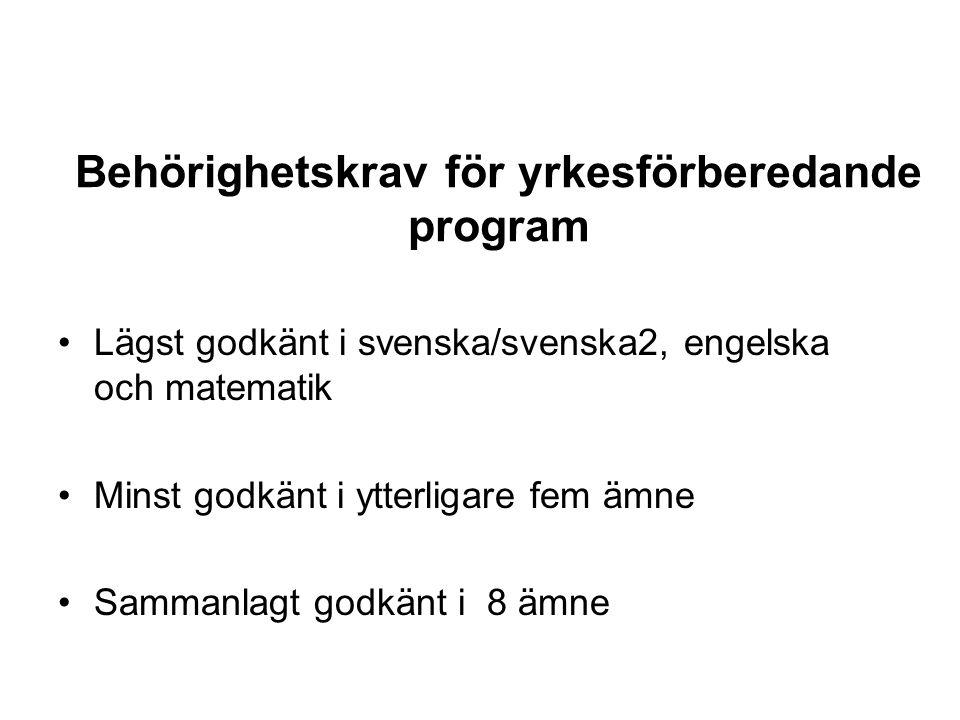 Behörighetskrav för yrkesförberedande program Lägst godkänt i svenska/svenska2, engelska och matematik Minst godkänt i ytterligare fem ämne Sammanlagt