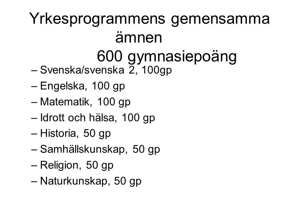 Yrkesprogrammens gemensamma ämnen 600 gymnasiepoäng –Svenska/svenska 2, 100gp –Engelska, 100 gp –Matematik, 100 gp –Idrott och hälsa, 100 gp –Historia