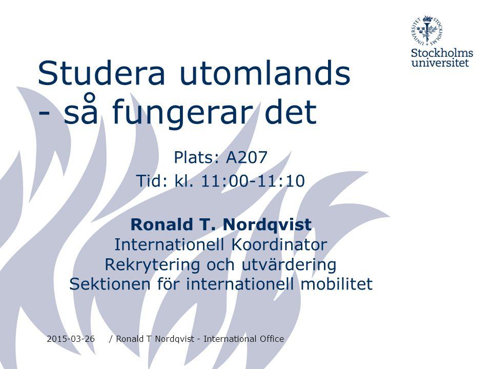 NORDEN Danmark, Finland, Island, Norge 2015-03-26/ Ronald T Nordqvist - International Office