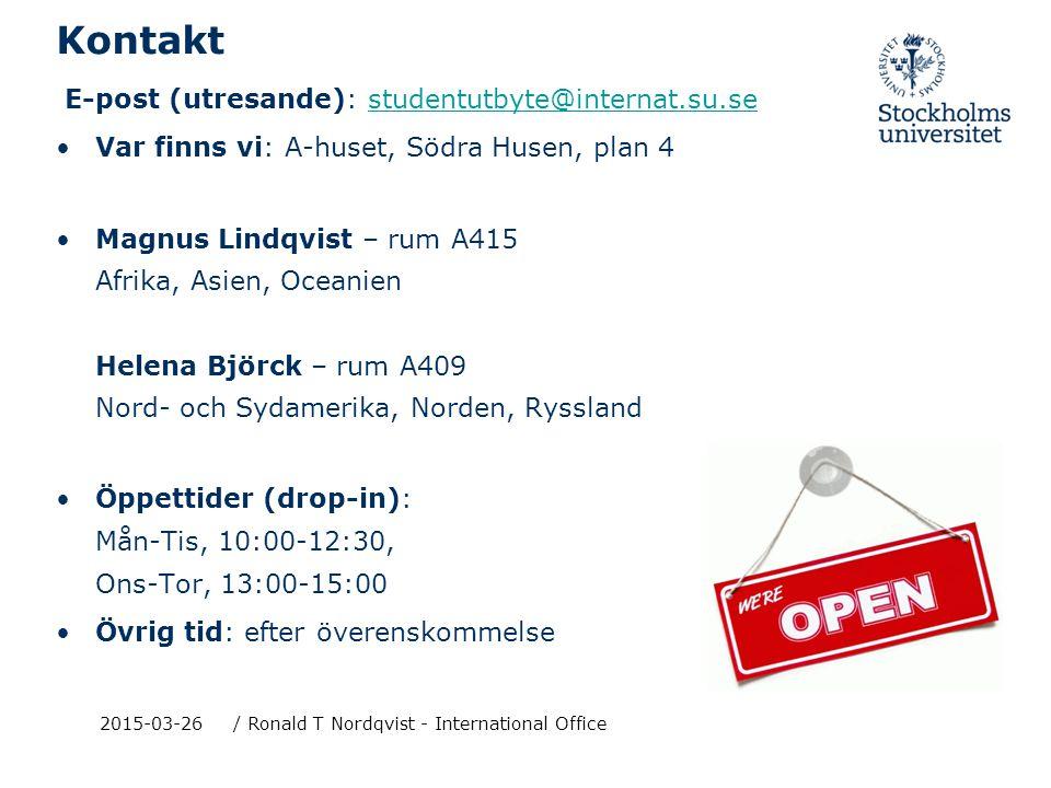 2015-03-26/ Ronald T Nordqvist - International Exchange Unit