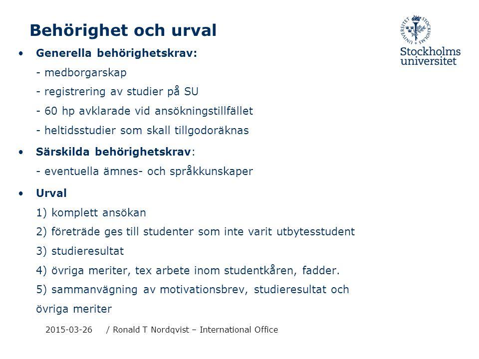 2015-03-26/ Ronald T Nordqvist - International Office Studera utomlands - var kan man söka.