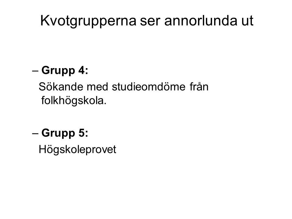 Kvotgrupperna ser annorlunda ut –Grupp 4: Sökande med studieomdöme från folkhögskola. –Grupp 5: Högskoleprovet