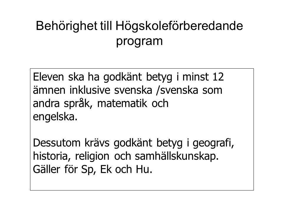 Behörighet till Högskoleförberedande program Eleven ska ha godkänt betyg i minst 12 ämnen inklusive svenska /svenska som andra språk, matematik och en