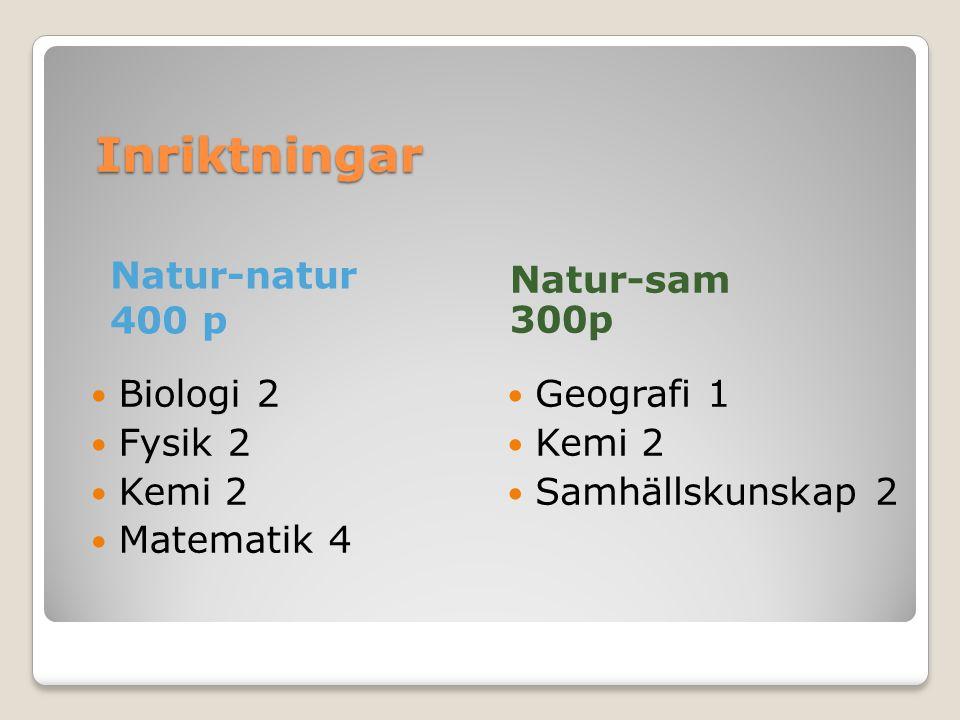 Inriktningar Inriktningar Natur-natur 400 p Biologi 2 Fysik 2 Kemi 2 Matematik 4 Natur-sam 300p Geografi 1 Kemi 2 Samhällskunskap 2