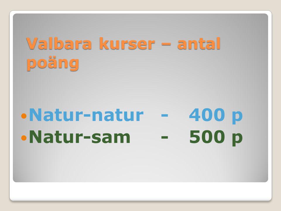 Valbara kurser – antal poäng Natur-natur-400 p Natur-sam-500 p