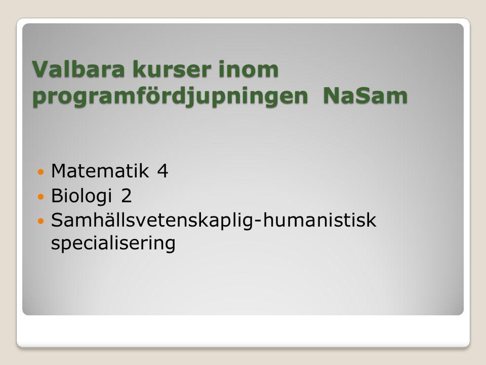 Valbara kurser inom programfördjupningen NaSam Matematik 4 Biologi 2 Samhällsvetenskaplig-humanistisk specialisering