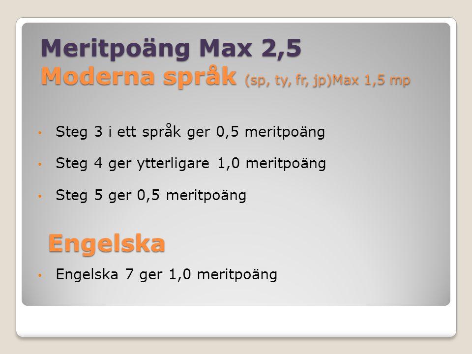 Matematik max 1,5 mp Matematik 2, 3 och 4 ger 0,5 meritpoäng vardera (om de inte krävs för behörighet) Matematik 5 ger 1,0 meritpoäng.
