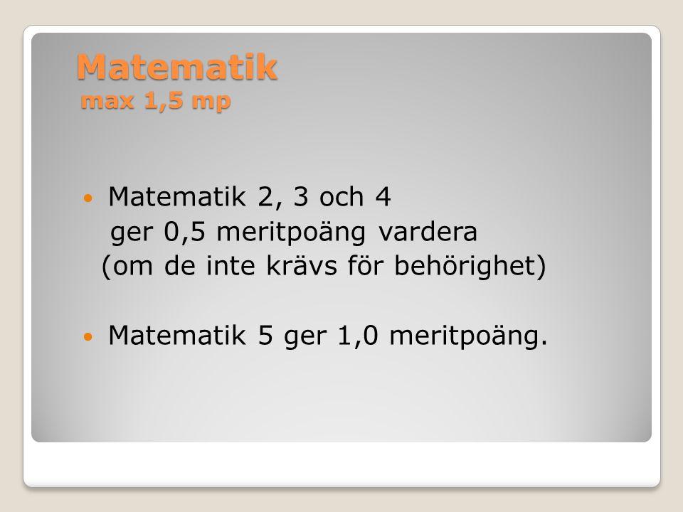 Matematik 5 Geografi 1 Naturvetenskaplig specialisering Valbara kurser inom programfördjupningen NaNat